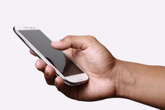 Overhandig holdingssmartphone Stock Fotografie