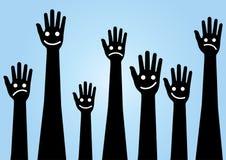 Overhandigt emoticon vector, overhandigt het voelen, heffen de handen op Stock Afbeeldingen