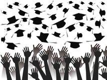 Overhandigt het vieren graduatie royalty-vrije illustratie