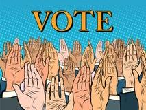 Overhandigt op stemming voor de kandidaat stock illustratie