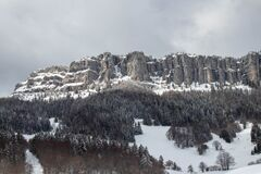 Overhanging rocky outcrop in chartreuse mountain