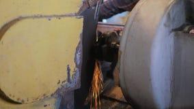 Overhaul of a car engine. Grinding the crankshaft of an internal combustion engine