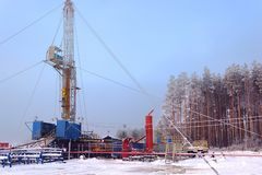 Overhaul of oil and gas wells, the intensification of production by pumping acid into the reservoir. Overhaul of oil and gas wells, the intensification of royalty free stock photography