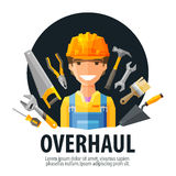 Overhaul vector logo design template. worker and Royalty Free Stock Images