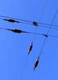 Overhead. Electric railway overhead, blue sky as background Royalty Free Stock Photo