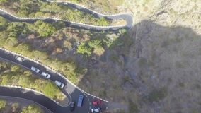 Overhead aeria view of beautiful road through the mountains.  stock photography