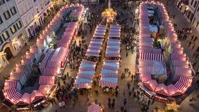 Overhead aerial timelapse of Christmas market, Bratislava stock video footage