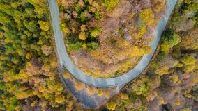 Overhead aerial top view over hairpin turn road bend in colorful countryside autumn forest.Fall orange,green,yellow,red Stock Images