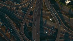 Overhead aerial view of highway.Road interchange.Drone footage