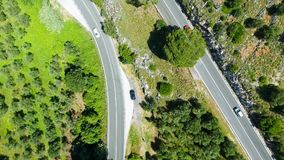 Overhead aerial view of mountain road.  Stock Photography