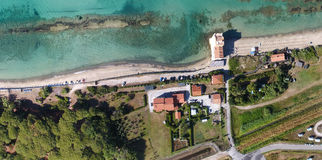 Overhead aerial view of sandy beach in Mediterranean Sea Royalty Free Stock Images
