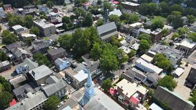 Overhead aerial view of the suburban area small town residential district with of Lambertville New Jersey US near the
