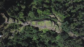 Overhead ascending drone view of the Lost City, archeological site in Colombia. Overhead ascending drone view of `Ciudad Perdida` Lost City, archeological site stock footage