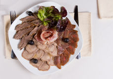 Overhead of Assorted Meat Plate Royalty Free Stock Photo