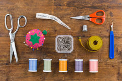 Free Overhead Assortment Of Sewing Tools Stock Photography - 90067972