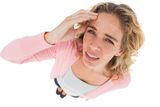 Overhead of attractive woman touching her forehead Royalty Free Stock Image