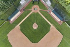 Overhead Baseball Diamond View. Overhead view of a high school baseball diamond in the Chicago suburb of Palatine, IL. USA Stock Photo