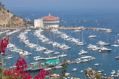 Free Overhead Bay View Of Avalon Harbor With Casino, Pleasure Pier, Sailboats And Yachts On Santa Catalina Island Vacation In Californi Royalty Free Stock Photo - 120603335