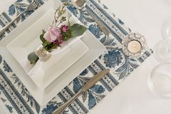 Beautiful table setting for an occasion. Overhead of beautiful table setting for an occasion Stock Photos