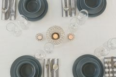 Beautiful table setting for an occasion. Overhead of beautiful table setting for an occasion Royalty Free Stock Photos