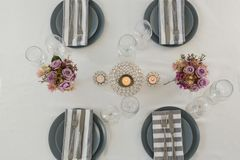 Beautiful table setting for an occasion. Overhead of beautiful table setting for an occasion Stock Images