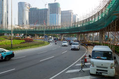 Overhead bridge is built to ease the traffic in Macau Stock Photography