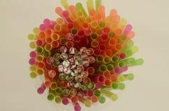 Overhead of Bright Plastic Drinking Straws Stock Photos