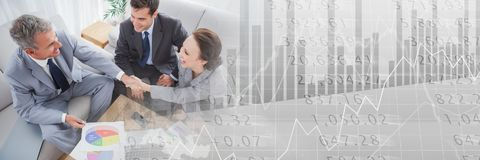 Overhead of business meeting in lounge with grey finance graph transition Royalty Free Stock Photos