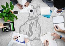 Overhead of business team with white surface and moneybag doodle Royalty Free Stock Image
