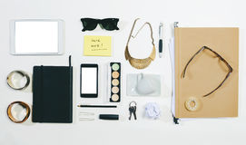 Overhead of business woman accessories. Royalty Free Stock Photo