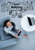 Overhead of business woman sitting with black business doodles Royalty Free Stock Image