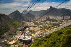 Overhead cable car over a city Stock Photos