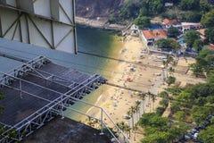 Overhead cable car over Sugarloaf Mountain, Rio De Janeiro, Braz Stock Images