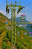 Overhead cable cars of ocean park hong kong Royalty Free Stock Photo