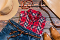 Overhead of casual woman clothes in western style Stock Images