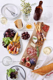 Overhead of charcuterie platter board Royalty Free Stock Images