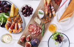 Overhead of charcuterie platter board Stock Photo