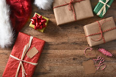 Overhead Christmas Presents Stock Image