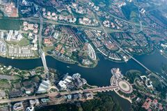 Overhead city view of Putrajaya, Malaysia. Aerial cityscape. Overhead city view of Putrajaya - Putra lake, Seri Saujana Bridge, Prime Minister`s Department stock image