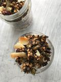 Overhead close-up shot of granola in a jar royalty free stock photography