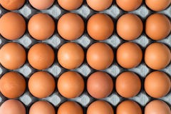 Overhead Closeup of Chicken Eggs in Tray for Backgrounds. Overhead close up shot of brown chicken eggs in cardboard tray for backgrounds Royalty Free Stock Photography