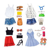 Overhead of clothes and woman accessories. Stock Photography