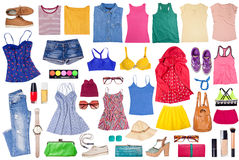 Overhead of clothes and woman accessories. Royalty Free Stock Photography