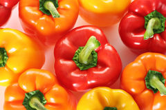 Overhead colorful peppers. Shot of overhead colorful peppers Royalty Free Stock Photo