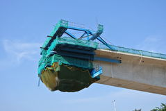 Overhead concrete viaduct under construction at the construction site Royalty Free Stock Photo