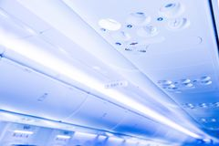 Overhead console in the modern passenger aircraft. royalty free stock photos