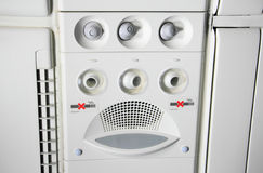 Overhead console in the passenger airplane Stock Photography