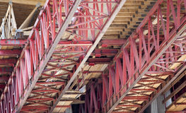 Overhead construction beams  Royalty Free Stock Images
