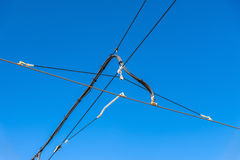 Overhead contact system on the new tram line Strasbourg - Kehl, France Royalty Free Stock Image