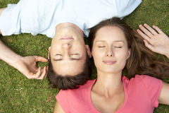 Overhead Of Couple With EyesClosed Stock Photos